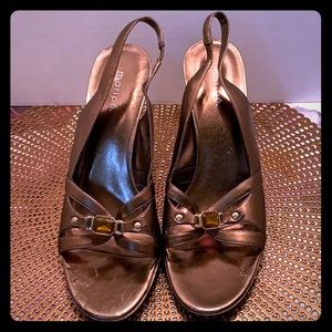 Maripe Paris Metallic Bronze Wedge Sandals